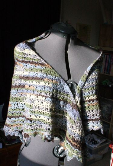 a greenish shawl