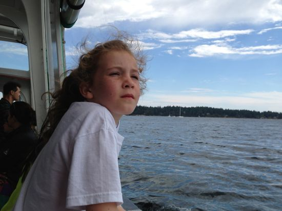 Caitlyn on water taxi to Newcastle Island