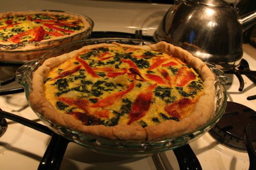 kale and roasted red pepper quiche