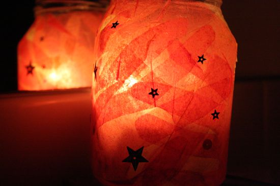 modpodge and tissue paper candle holders