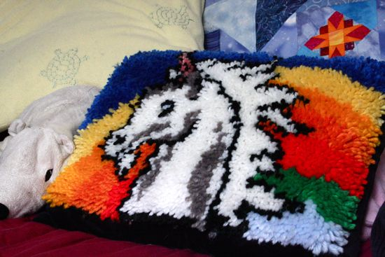 latch-hook unicorn rug... from the 80s!